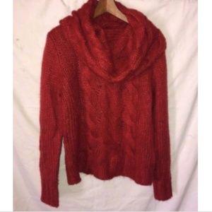 H&M Turtle Sweater Sz S Rust Orange Chunky Cable